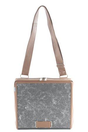 ad:acta Maletín marrón claro-gris oscuro estampado con diseño abstracto