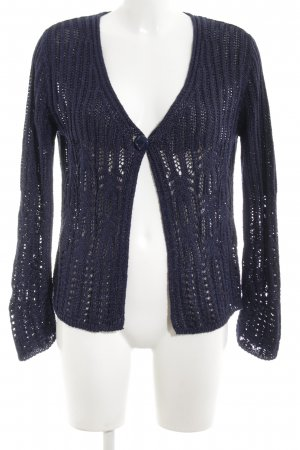 Adagio Cardigan all'uncinetto blu punto treccia stile casual