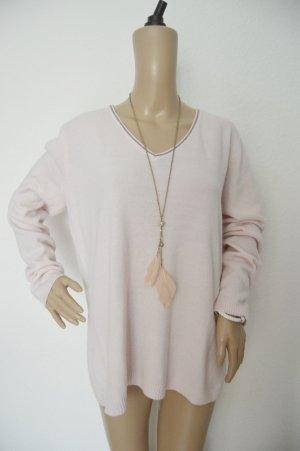 Adagio rosa Pullover mit Zierstreifen gr.46