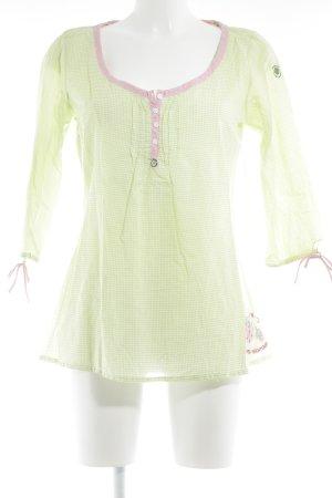 Adelheid Blusa de manga larga verde pradera-rosa estampado a cuadros