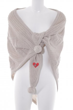 Adelheid Strickponcho creme Zopfmuster Wickel-Look