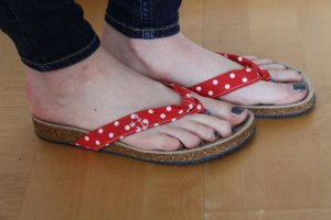 Adelheid Sandalo toe-post rosso-bianco Fibra tessile