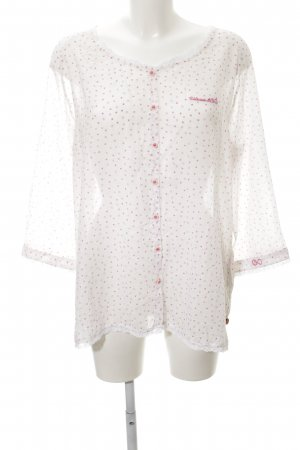 Adenauer & Co Langarm-Bluse weiß-pink Allover-Druck Casual-Look