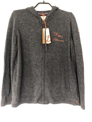 Adenauer & Co Cardigan dark grey-neon orange cotton