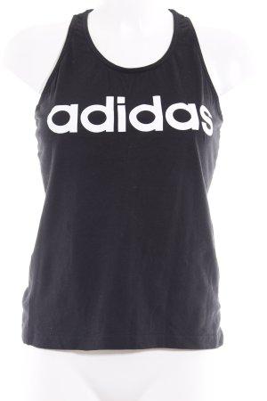 Adidas A-Linien Top schwarz-weiß Schriftzug gedruckt sportlicher Stil