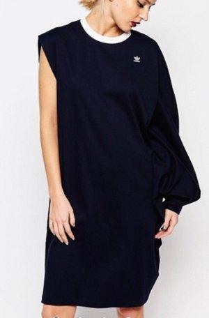 Adidas asymmetrisches Kleid Longshirt blau weiß neu
