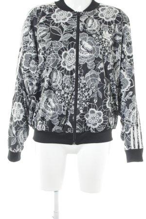 Adidas Bomberjacke schwarz-weiß Blumenmuster sportlicher Stil