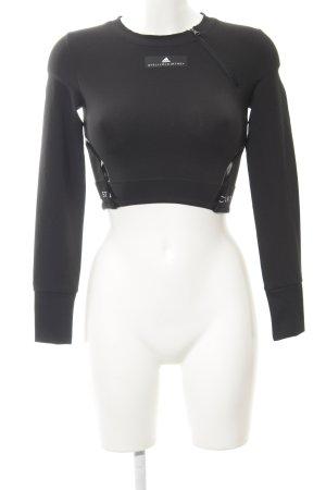 Adidas by Stella McCartney Cropped Shirt schwarz Schriftzug gedruckt