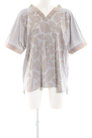 Adidas by Stella McCartney V-Ausschnitt-Shirt hellgrau-wollweiß Blumenmuster