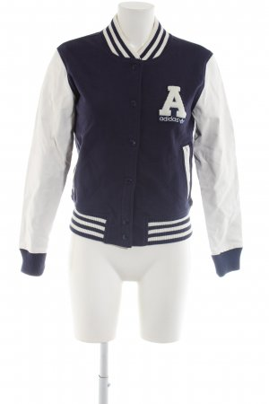 Adidas College Jacket blue-white printed lettering casual look