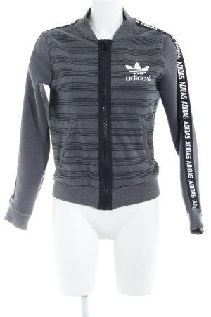 Adidas Giacca college grigio motivo a righe stile universitario
