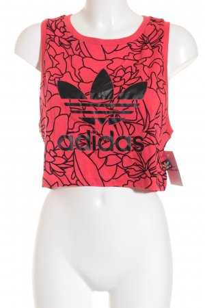 Adidas Cropped Top hellrot-schwarz florales Muster Urban-Look