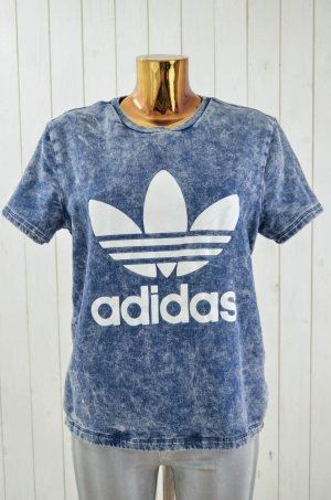 ADIDAS Damen Sweatshirt Rundhals Kurzarm Blau Stonewashed Print Baumwollgem. 40
