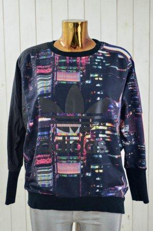 ADIDAS Damen Sweatshirt Rundhals Oversized Langarm Schwarz Bunt Neon Print Gr.36