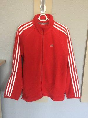 Adidas Fleece-Jacke in rot/weiß