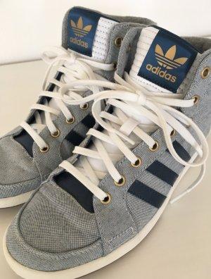 Adidas Hi Top Sneaker 37 37.5 Slipper Weiß Blau Turnschuhe Schnürschuhe Damen Trainers