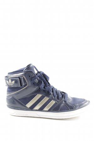 Adidas High Top Sneaker dunkelblau Streifenmuster Casual-Look