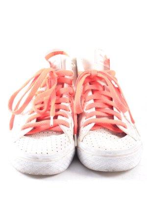 Adidas Zapatillas altas beige claro-rojo neón estilo deportivo