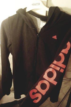 Adidas Chaqueta con capucha gris antracita-rojo claro