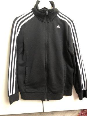 Adidas Jacke in schwarz mit weißen Streifen an den Ärmeln