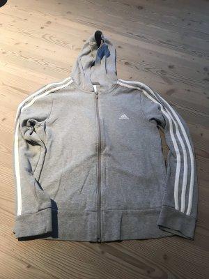 Adidas Maglione con cappuccio grigio chiaro-bianco