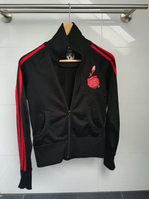 Adidas Jacke Schwarz mit Rosenstickerei