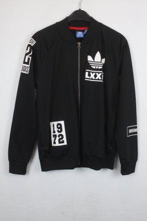 Adidas Jacke Sweatjacke Gr. 36 schwarz mit weißem Print (18/5/293)