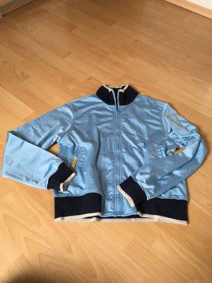 Adidas Jacke Traoningsjacke Retro hellblau dunkelblau Silber 42 M Collegejacke