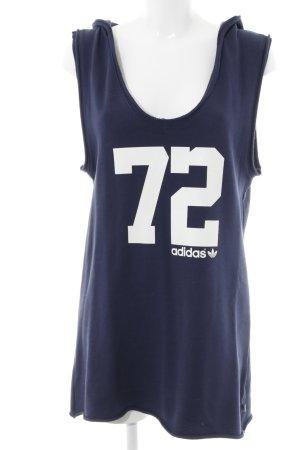Adidas Jerseykleid dunkelblau-weiß platzierter Druck Casual-Look