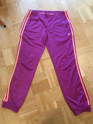 adidas Jogginghose lila mit orangenen Streifen