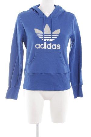 Adidas Kapuzenpullover blau-silberfarben Motivdruck Casual-Look