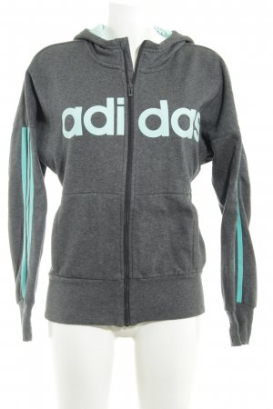 Adidas Hooded Sweater dark grey-turquoise printed lettering athletic style
