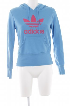 Adidas Kapuzenpullover himbeerrot-neonblau Schriftzug gedruckt sportlicher Stil