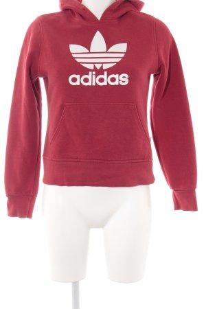 Adidas Kapuzenpullover rot-weiß platzierter Druck Casual-Look