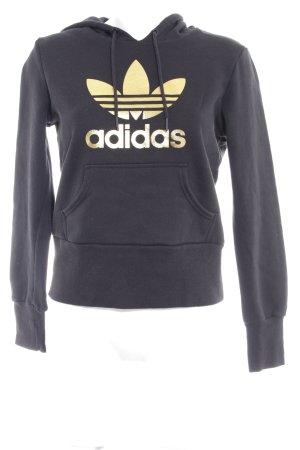 Adidas Kapuzenpullover schwarz-goldfarben Motivdruck Casual-Look