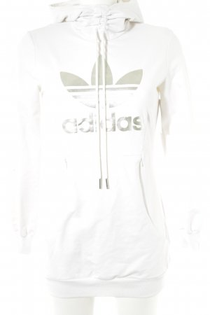 Adidas Jersey con capucha blanco-color plata estilo deportivo