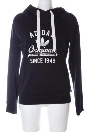 Adidas Kapuzensweatshirt schwarz-weiß Schriftzug gedruckt Casual-Look