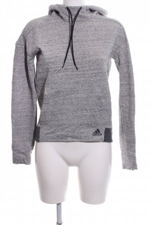 Adidas Hooded Sweatshirt light grey-black flecked casual look
