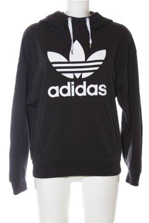 Adidas Kapuzensweatshirt schwarz-weiß Motivdruck Casual-Look