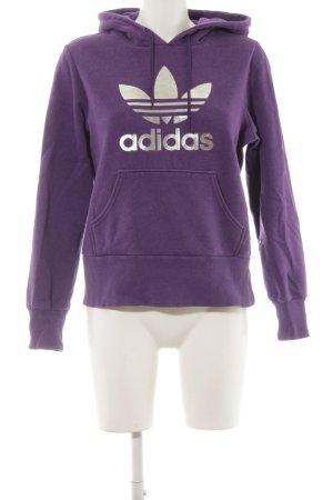 Adidas Kapuzensweatshirt lila Motivdruck Casual-Look