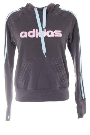 Adidas Kapuzensweatshirt schwarz-neonpink Schriftzug gedruckt Casual-Look