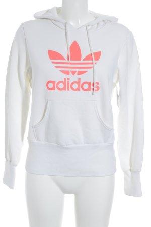 Adidas Kapuzensweatshirt weiß-neonorange Casual-Look