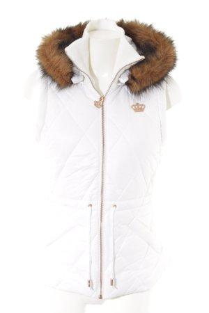 Adidas Kunstfellweste weiß-roségoldfarben sportlicher Stil