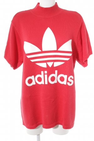 Adidas Jersey de manga corta rojo-blanco letras impresas look Street-Style
