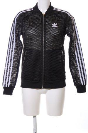 Adidas Kurzjacke schwarz-weiß Streifenmuster sportlicher Stil