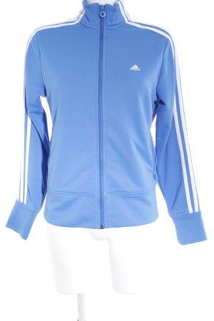 Adidas Kort jack wit-staalblauw atletische stijl