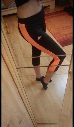 Adidas Pantalone da ginnastica nero-arancio neon