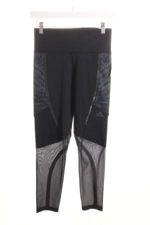Adidas Leggings schwarz-grau florales Muster Materialmix-Look