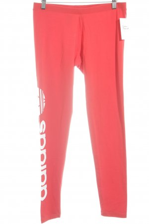 Adidas Leggings white-red placed print athletic style
