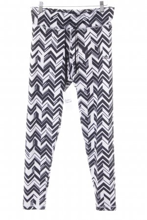 Adidas Leggings weiß-schwarz Zackenmuster sportlicher Stil
